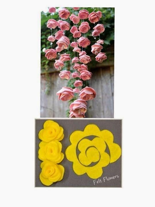 Keçe Çiçeklerden Sarkıt Süs Yapımı