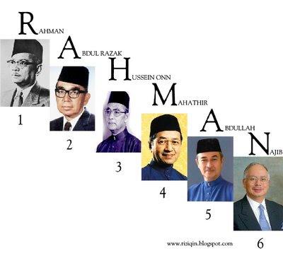 nota : cara mudah untuk ingat nama² Perdana Menteri Malaysia