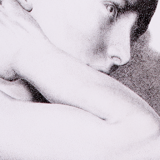 Closeup of face and arm of drawing Into the Light 2. Drawing is a portrait of a nude woman with her arms resting on her thigh and knee. Created entirely out of ink dots in the pointillism style.