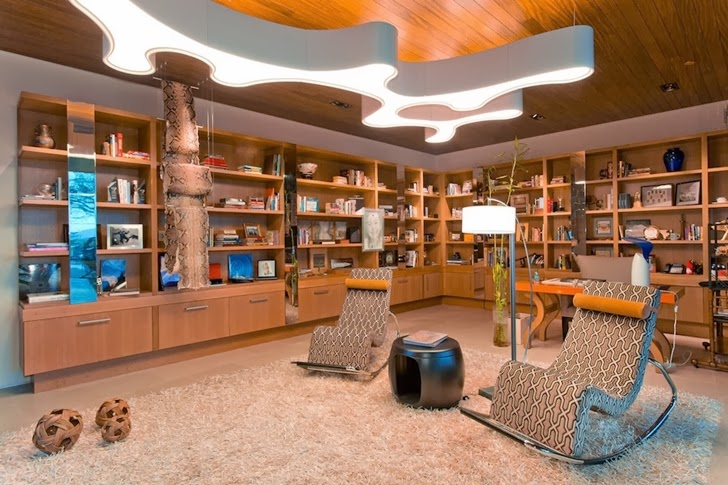 Reading room in Multimillion modern dream home in Las Vegas