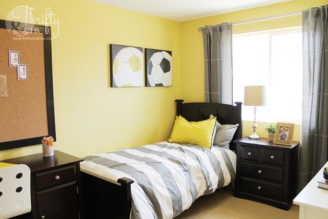 yellow and grey boys room decor ideas