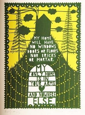 stencil cut saying by Rob Ryan