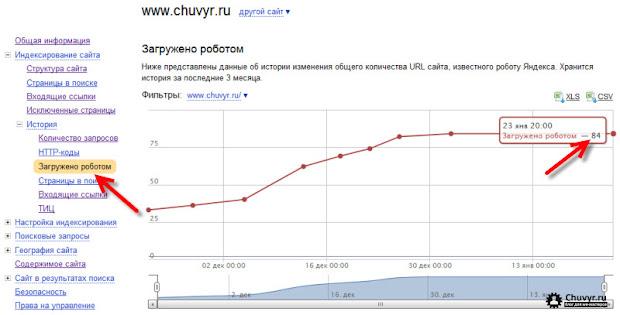 Страницы загруженные роботов - отчет Яндекс.Вебмастер