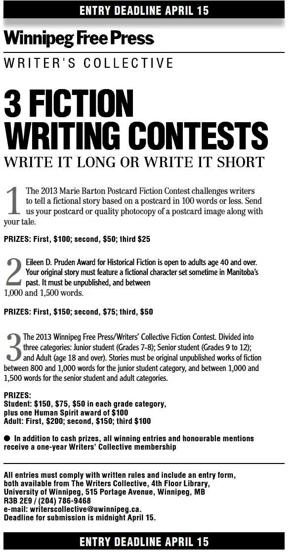 fiction writing contests 2013 Writer's digest annual writing competition writer's digest hosts the annual writing competition this competition spotlights writing in many categories including poetry, scripts, memoirs and genre fiction.
