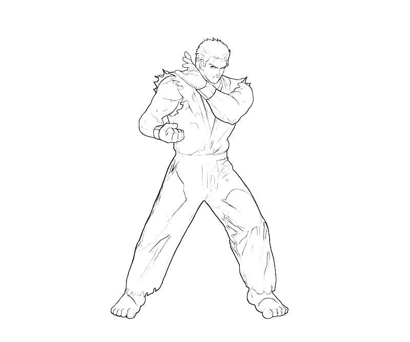 printable-king-of-fighters-ryo-sakazaki-look-coloring-pages