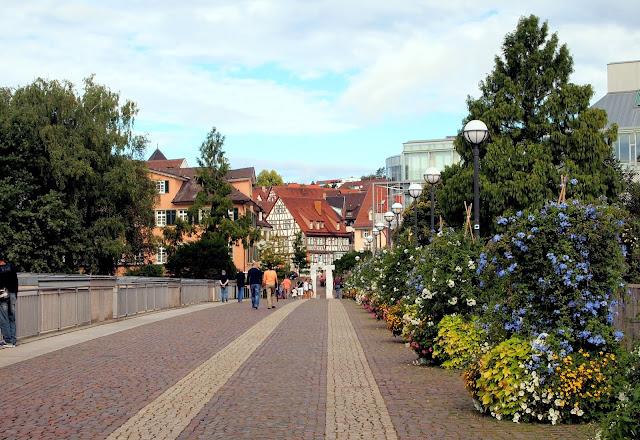 Walking across the bridge into town - Bietigheim-Bissingen, Germany