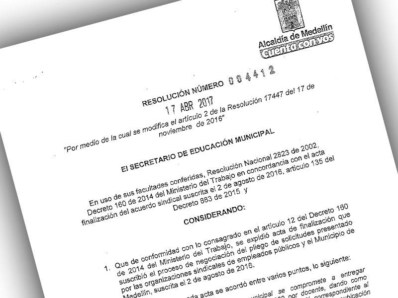 Otro logro de la organización sindical para los educadores de Medellín
