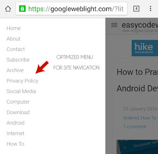 Optimized Menu of GoogleWebLight