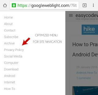 Optimized Menu of GoogleWebLight