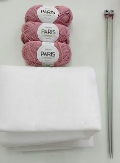 materiales para tejer osito de punto agujas guata algodón
