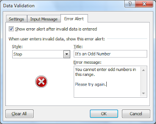 Creating an error alert for our validation rule
