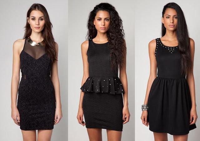 vestidos negros de bershka