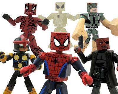 Toys R Us Exclusive Marvel Animated Universe Minimates Ultimate Spider-Man Series by Diamond Select Toys - Spider-Man, Nick Fury, Nova, Carnage, Stealth Suit Spider-Man & Sandman