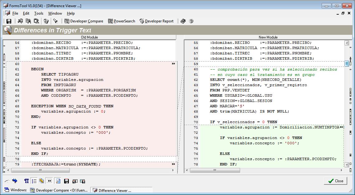 Diferencias en código PL/SQL