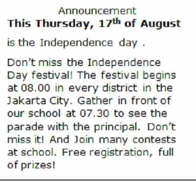 Semoga Pengumuman Hari Kemerdekaan 17 Agustus Ini Bermanfaat Untuk
