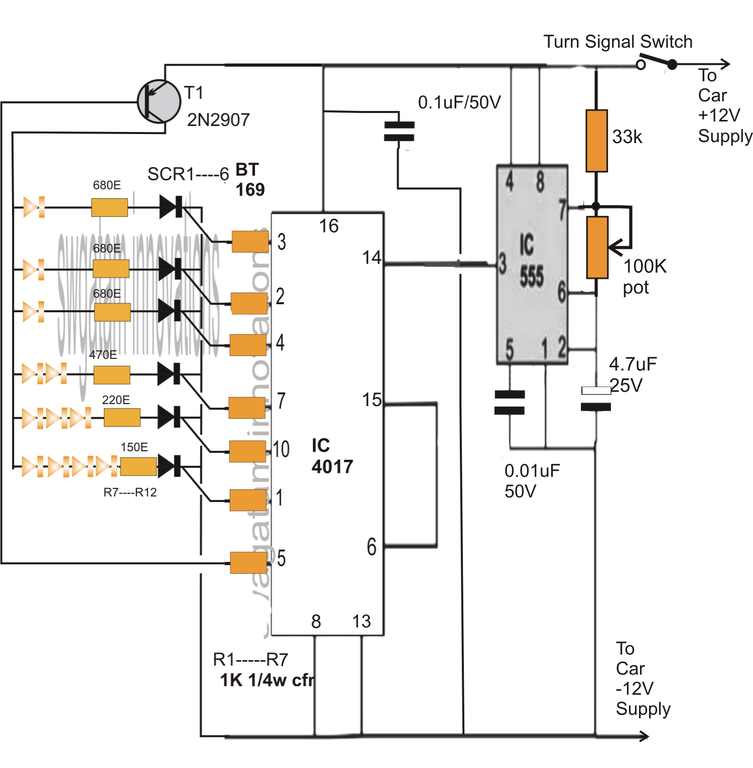 sequential bar graph turn light indicator circuit for car