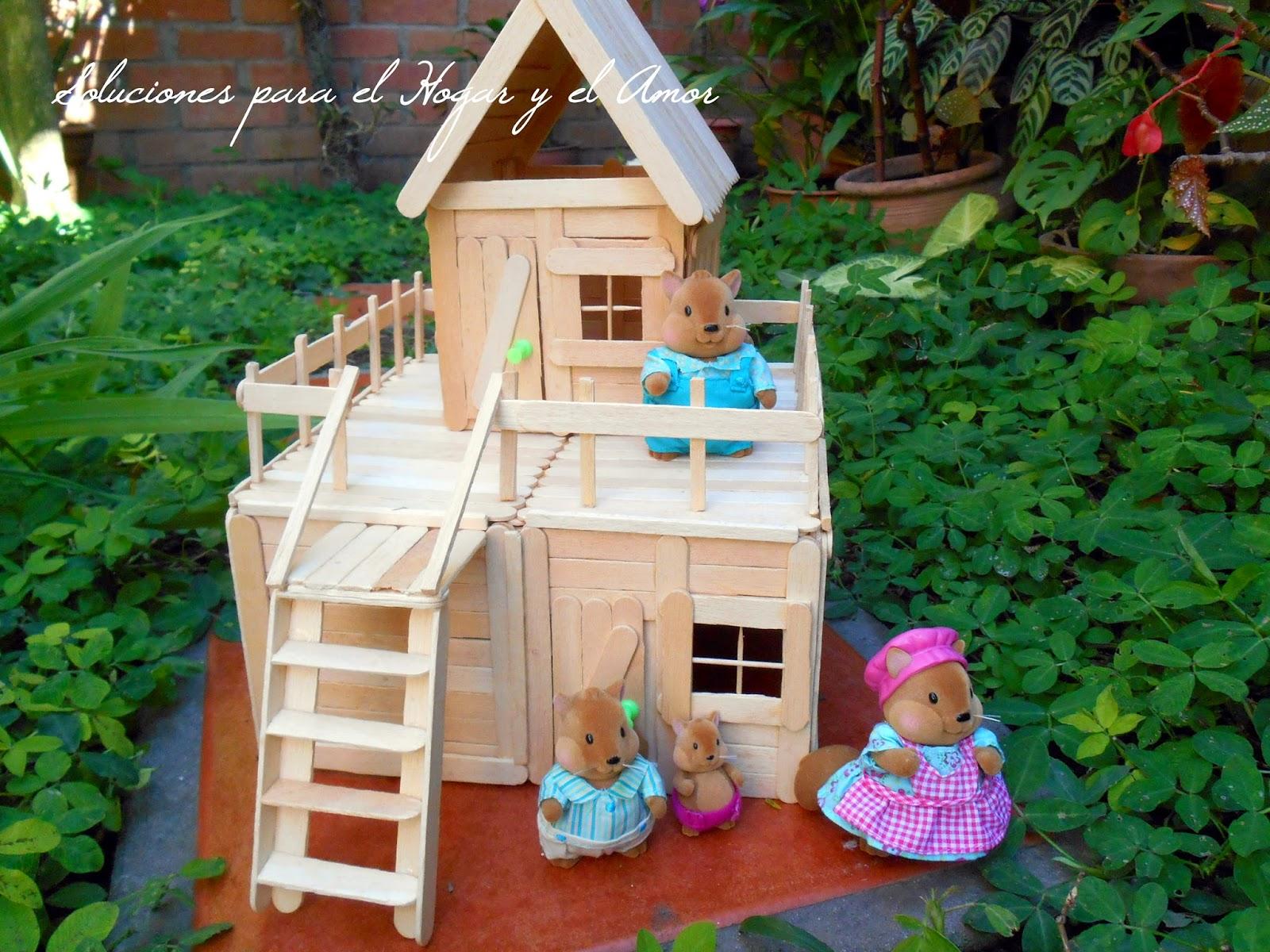 DIY Casa de dos pisos hecha con palitos de helados, popsicle house