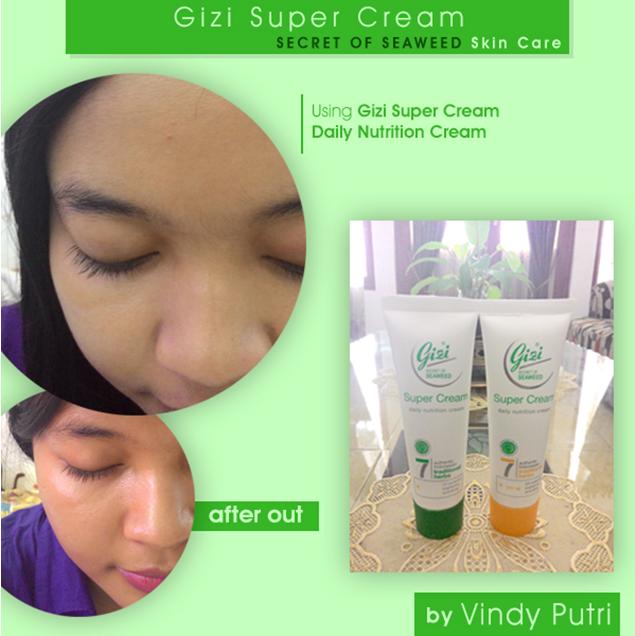 Aplikasi Gizi Super Cream Daily Nutrition Cream pada wajahku  dan wajahku setelah pulang dari aktivitas.