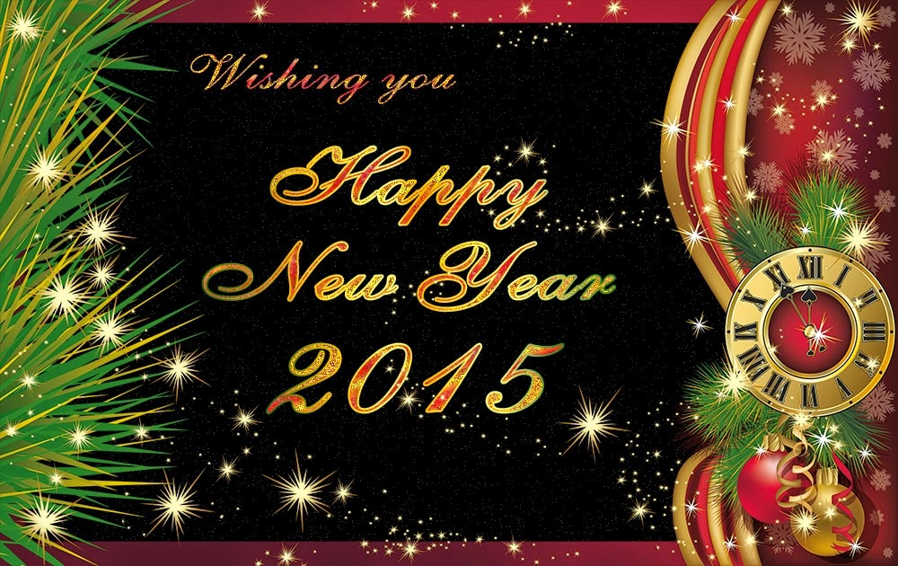 Christmas Happy New Years Wishes 2015 Clock eCard Images