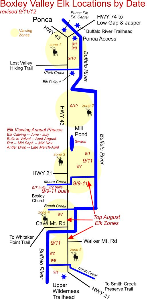 9/11/12 Elk Herd Locations in Boxley Valley near Ponca, AR