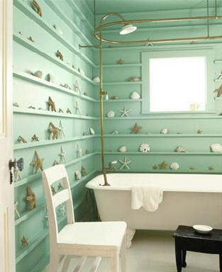 [A modern bathroom that is made to looks like a part of an old school countryside shack]