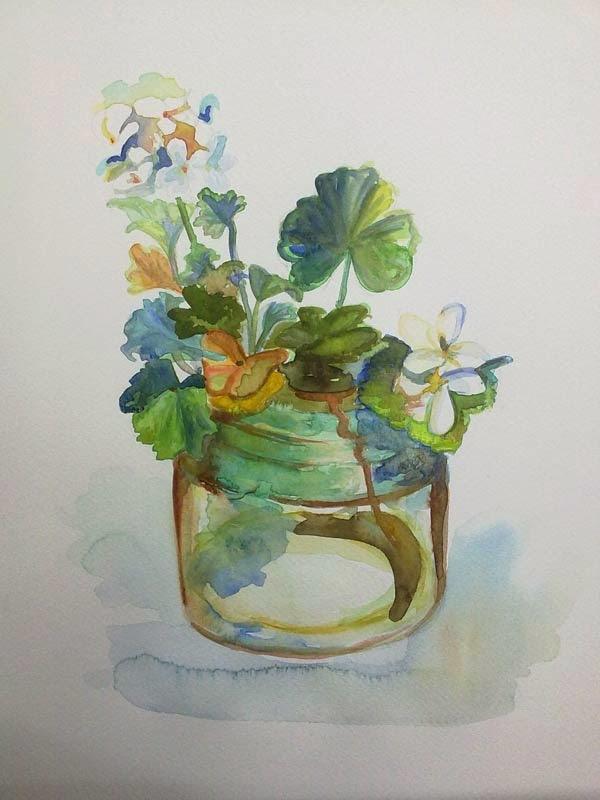 flores con acuarela en tarro de cristal