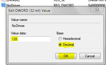 Edit DWORD Value HDD drive hide