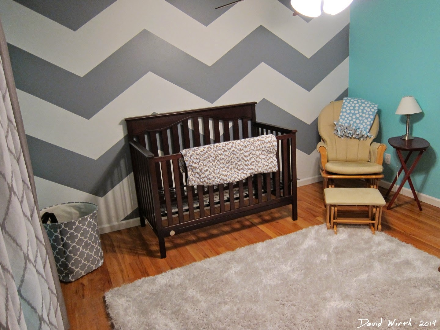 new baby room, ideas, carpet, color, chair, crib, chevron, zig zag, boy, girl