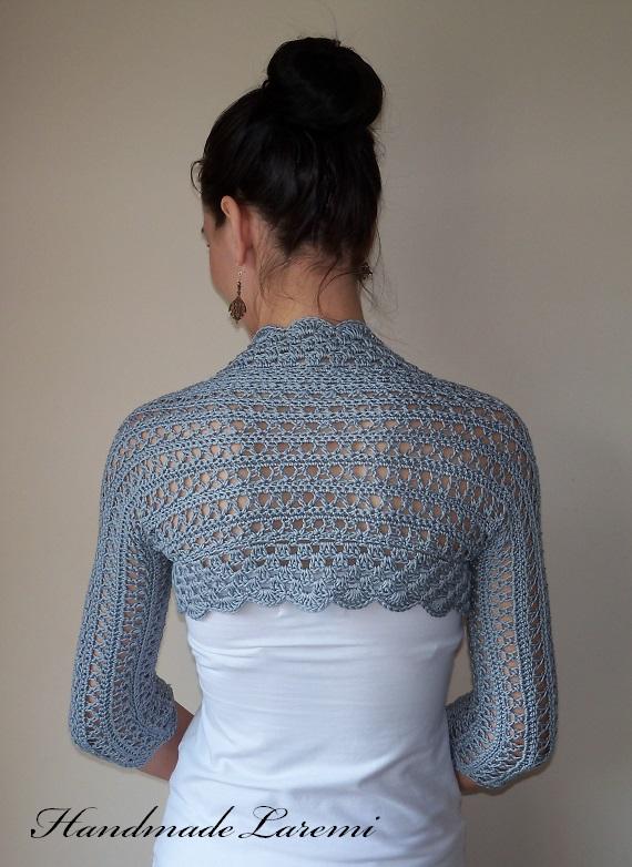 Crochet Shrug : ... Laremi: Gray WEDDING BOLERO SHRUG cotton lace crochet bolero jacket