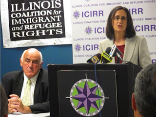 Billy Lawless (left) attending an immigrant rights meeting