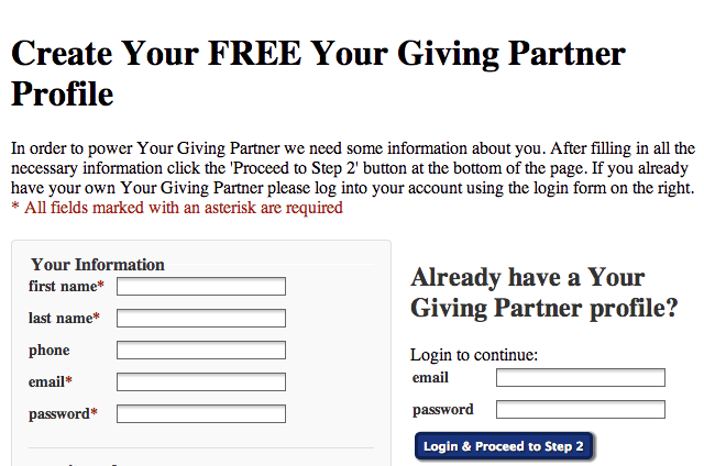 Create Your Giving Partner Profile