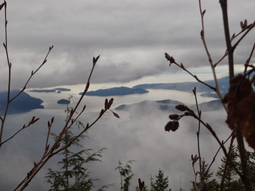 View of foggy Howe Sound and islands from Brunswick Mountain