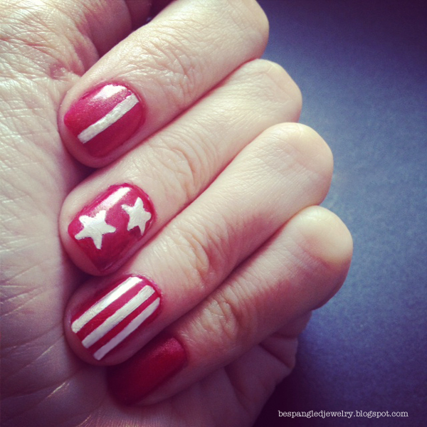 DIY red and white stars and stripes patriotic 4th of july manicure
