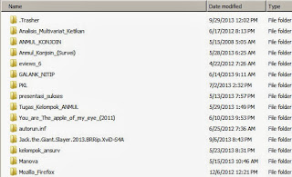 Hasil setelah dimunculkan file yang tersembunyi