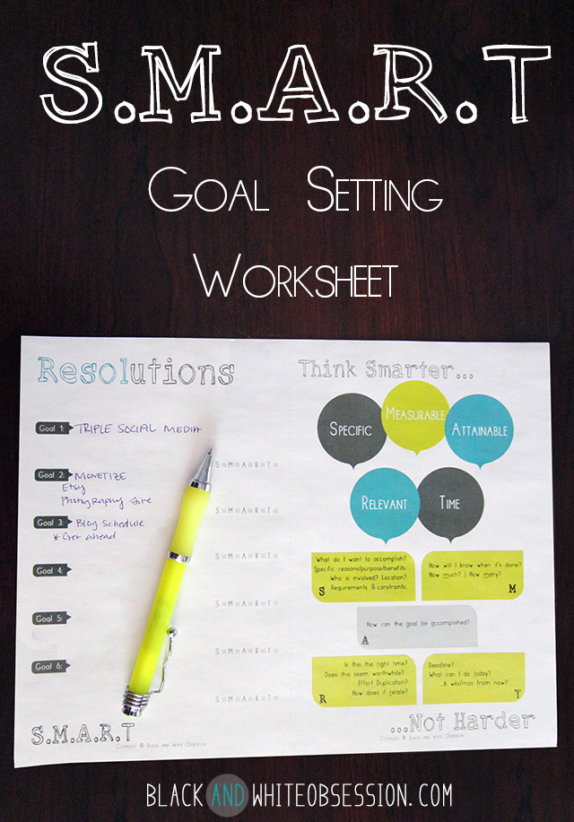 Black and White Obsession SMART Goal Setting Worksheet