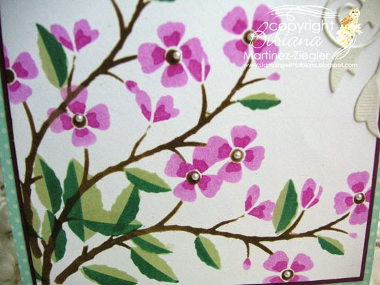 stenciled cherry branch detail