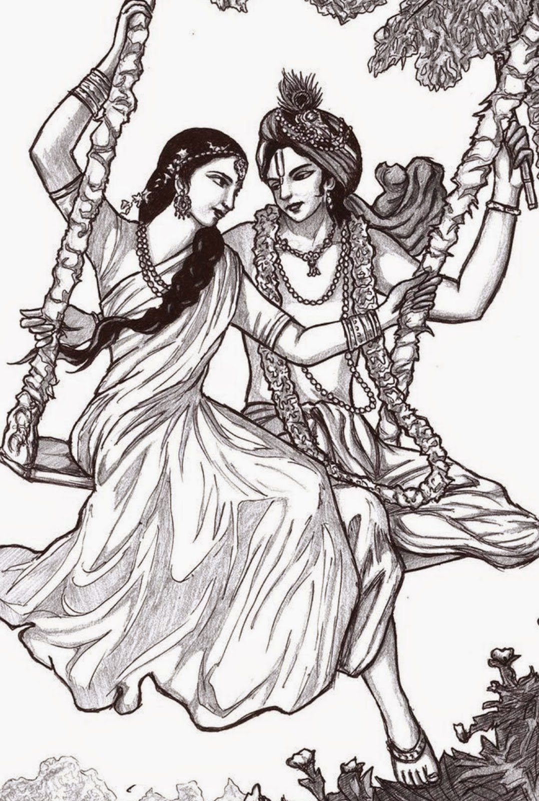 Colours Drawing Wallpaper Lord Radha Krishna Colour Drawing HD Wallpaper