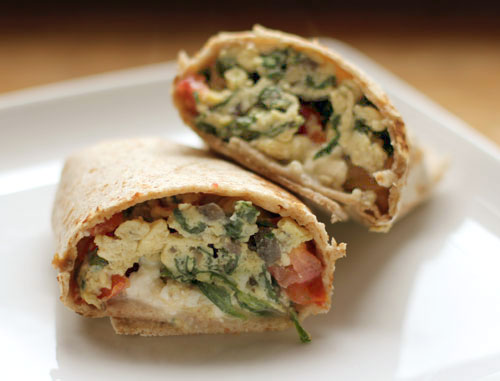 Less Processed Life: What's For Breakfast: Spinach Feta Egg Wrap