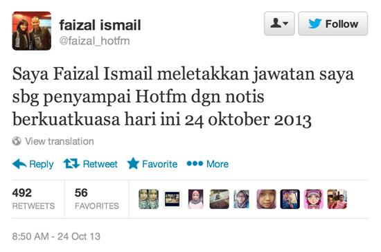 Faizal Ismail Letak Jawatan Penyampai Hotfm 24 oktober 2013