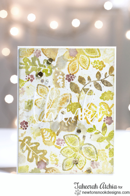 Beautiful Leaf Thanks card by Taheerah Atchia for Newton's Nook Designs | Falling into Autumn Stamp Set