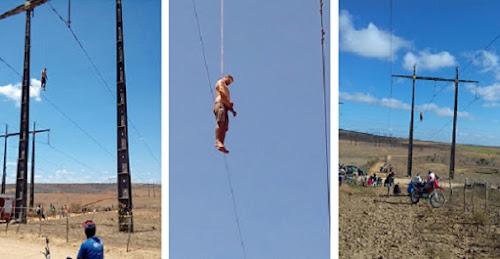 Jovem de 20 anos comete suicídio subindo em torre de energia no interior da Bahia