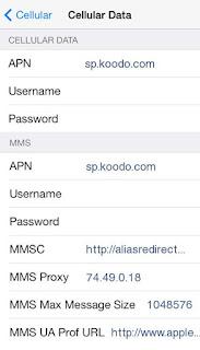 Koodo APN Settings for iPhone 4 5 6 6S