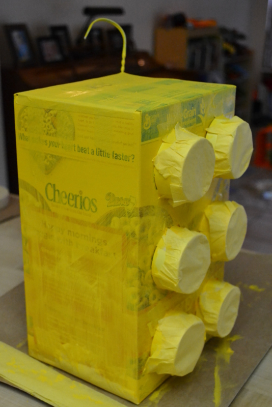 Handmade mommy less mess lego pinata for How do you make paper mache glue at home