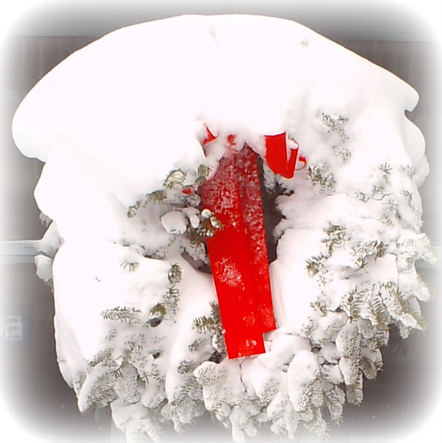 White, Wreath, Salem, Massachusetts, armory, snow, storm, red, ribbon