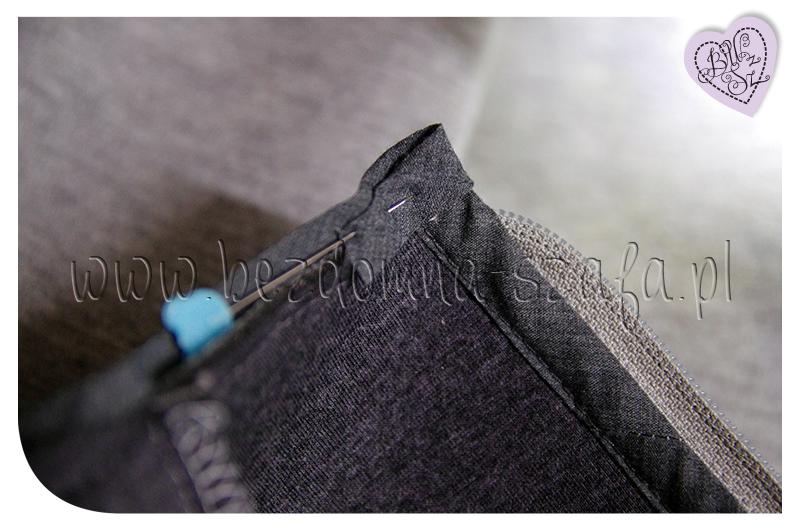 płaszcz z pianki dekolt lamówka narożnik
