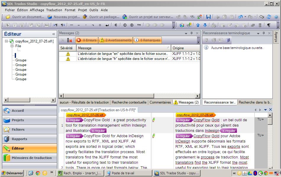 Traduire facilement un fichier indesign avec copyflow ou for Recherche studio