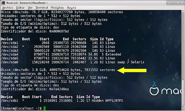 ver particiones linux con fdisk -l