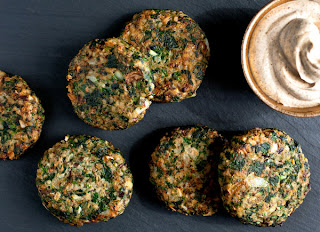 Mushroom, Bulgur, Spinach and Turkey Fritters With Yogurt Sauce