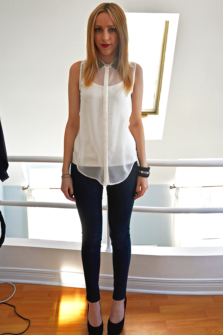 cute jeggings sheer white top studded collar new year's eve