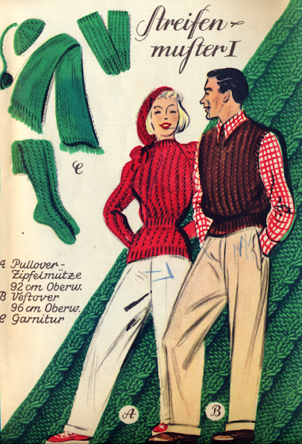 The Vintage Pattern Files Free Knitting Pattern 1940's Knitting  -  Knitted's For Him & Her